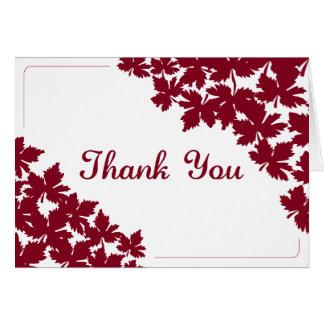 Carte de remerciements d'érable rouge