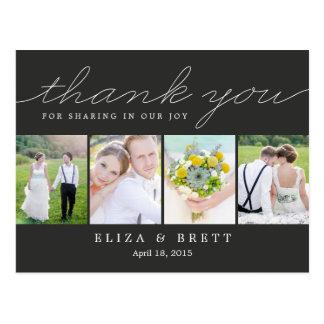 Carte de remerciements doux de mariage de collage carte postale