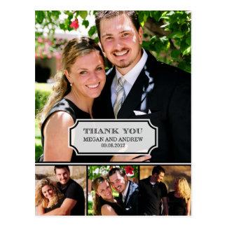 Carte de remerciements élégant de mariage d étique cartes postales