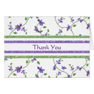 Carte de remerciements floral avec des violettes