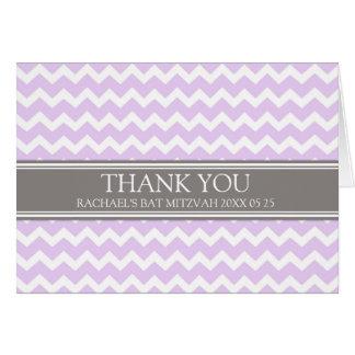 Carte de remerciements gris lilas de bat mitzvah d