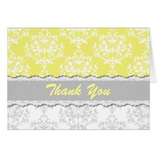 Carte de remerciements jaune de cottage et gris ch