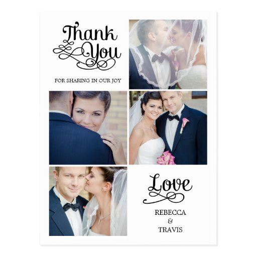 Carte de remerciements moderne de mariage de calli carte postale