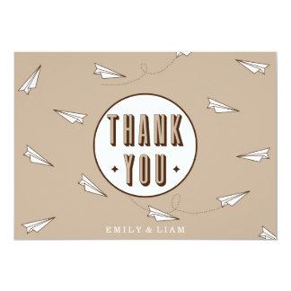 Carte de remerciements moderne mignon avec l'avion carton d'invitation  12,7 cm x 17,78 cm