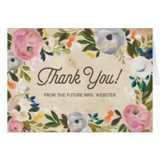 Carte de remerciements | nuptiale floral vintage