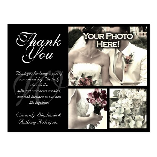 Carte de remerciements personnalisable de mariage carte postale