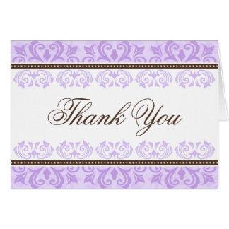 Carte de remerciements pourpre et brun pâle de dam