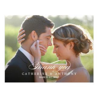 Carte de remerciements pur de mariage d'élégance - carte postale
