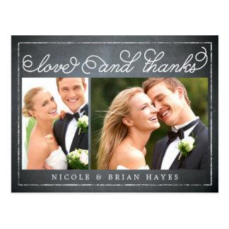 Carte de remerciements rustique de mariage de cartes postales