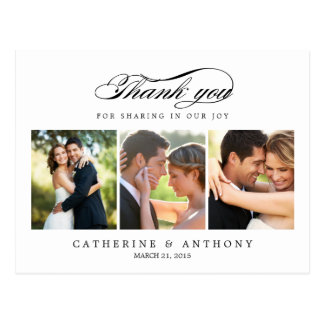Carte de remerciements simplement élégant de maria carte postale