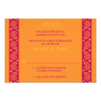 Carte- de réponse florale orange rose de mariage d