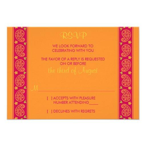 Carte- de réponse florale orange rose de mariage d invitations