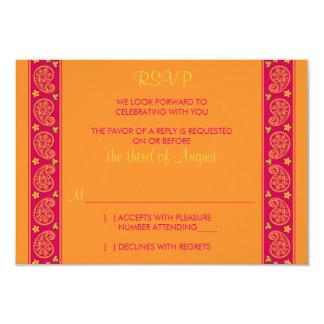 Carte- de réponse florale orange rose de mariage invitations
