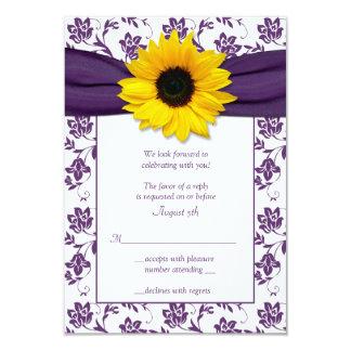Carte- de réponse florale pourpre et blanche de carton d'invitation 8,89 cm x 12,70 cm