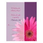 Carte- de réponse pourpre et rose de mariage de ma invitation personnalisée