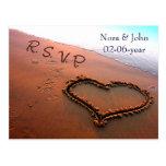 carte de rsvp de mariage de plage cartes postales