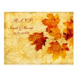 carte de rsvp de mariage d'hiver de brun d'automne carte postale
