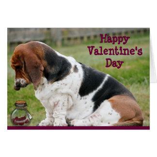 Carte de Saint-Valentin avec Basset Hound et des