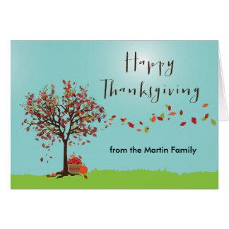 Carte de thanksgiving d'arbre d'automne