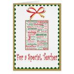 Carte de vacances de Noël pour le professeur