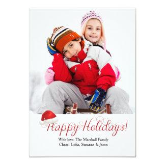 Carte de vacances de photo du chapeau de Père Noël Carton D'invitation 12,7 Cm X 17,78 Cm