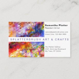 Carte De Visite Artiste Multicolore Declaboussure Peinture