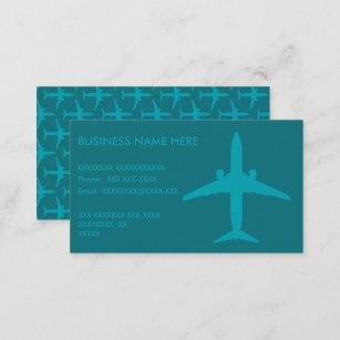 Carte De Visite Avion Graphique Dans Le Bleu DAqua