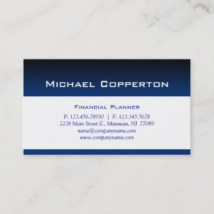 Carte De Visite Bleu Professionnel Planificateur Financier