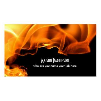 carte de visite brûlant du feu