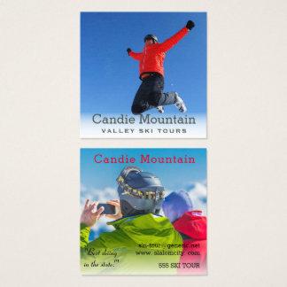 Carte De Visite Carré Le ski voyage le modèle photo brumeux de surfeur