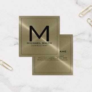 Carte De Visite Carré Métal inoxydable bronzage moderne élégant de