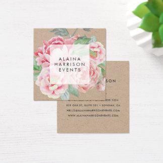Carte De Visite Carré Papier d'emballage floral vintage
