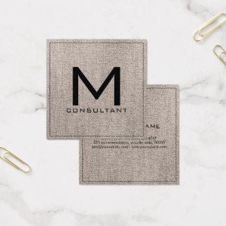 Carte De Visite Carré Toile bronzage moderne élégante de monogramme