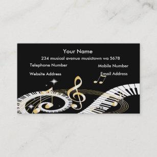 Carte De Visite Cls Piano Et Notes Dor Musique