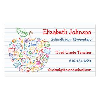 Carte de visite coloré d Apple de professeurs