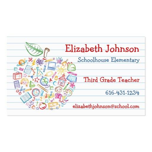 Carte de visite coloré d'Apple de professeurs