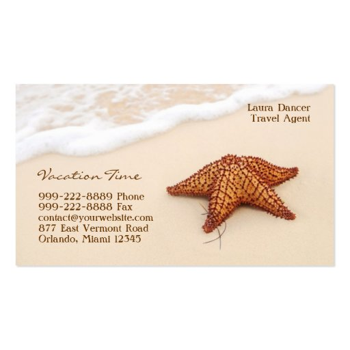 Carte de visite d'agence de voyages