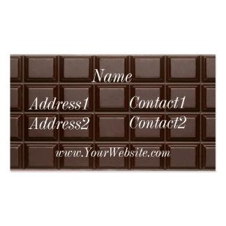 Carte de visite de barre de chocolat