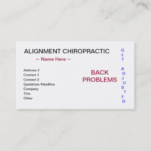 Carte De Visite Chiropractie Dalignement