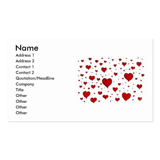 Carte de visite de coeurs