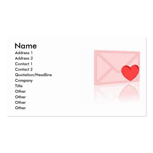 Carte de visite de lettre d'amour