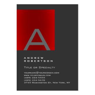 Carte de visite élégant de monogramme rouge gris à