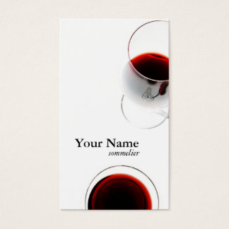 carte de visite en verre de vin rouge - sommelier