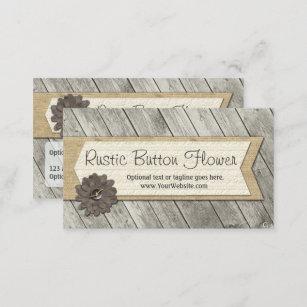Carte De Visite Fleur En Bois Rustique Tissu Bouton Et Toile