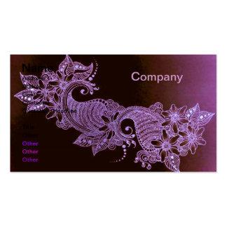 carte de visite floral de mehndi violet de henné