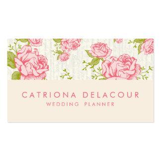 Carte de visite floral de motif de roses roses vin