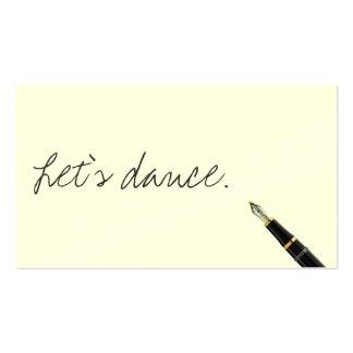 Carte de visite libre de danse de manuscrit d'écri