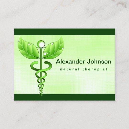 Carte De Visite Lumiere Verte Medecine Douce Caducee Grande
