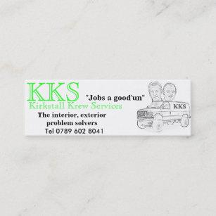 Carte De Visite Mini KKS Van Fin Blanc Les Travaux Un Bon