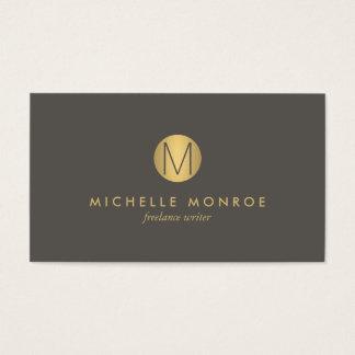 Carte de visite minimaliste de monogramme d'or